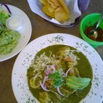 Shrimp enchiladas, guac, salad, pico