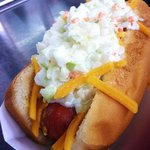 Dog with our Homemade Slaw
