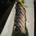 Seared mackerel sashimi.