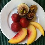 Fruit plate before a main course breakfast each morning