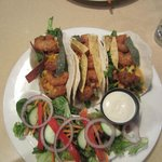 Shrimp tacos with small side salad