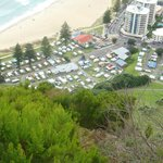 Mt Beachside Holiday Park from the summit of Mauao