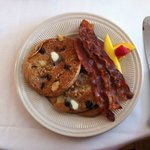 Blueberry Pancakes (locally milled flour) and bacon for breakfast