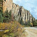 The Palisade Sills cliffs along Cimarron Canyon
