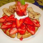 Strawberries and banana waffle