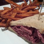 Pastrami with Sweet Potato Fries (1/2 sandwich removed for the picture)