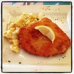 Wienerschnitzel and German potato salad