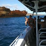 Up close to 1940's oil tanker aground on Lanai's north shore, weather permitting