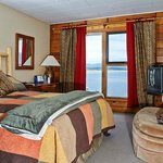 Lodge room with Queen size bed and view of Lake Granby