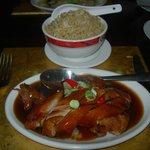 Duck in fruity Peking sauce, egg fried rice
