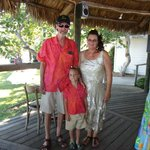 tiki bar parents of the Bride & their grandson