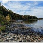 Eagle Trail at rocky shoreline bottom of bluff