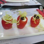 Starter - roma tomatoes peeled and stuffed with cod