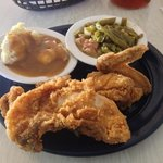 Fried Chicken, Garlic Mashed Potatoes, Great Green Beans with Ham Hock