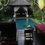 View to the pool and massage bale