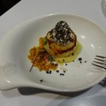 Seared scallop pinxto, beautiful plating, a must try!