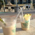 Pina Coladas with Rum Floaters -- yum!