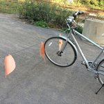 Very dangerous trap for bicycles at night along bike path