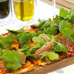 Lunch time! Regina Pizza (Parma ham, mushrooms, rocket and  balsamic dressing)