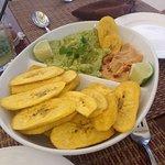 Guacamole and spicy humus dip platter.l!