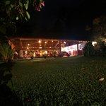 Restaurant area at night.