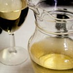 Portuguese house white wine at a typical tasca