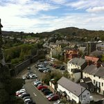 Looking out from Conwy Castle. The B&B is the vanilla coloured building in the middle.