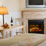 Our fireplace rooms are perfect for warm, cozy nights