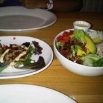 Crab Cake and Crab/Bacon/Blue Cheese Salad