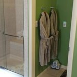 The shower has double shower heads and plenty of room for two!