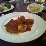 Prawns in chilli, garlic, tomato and white wine sauce and chips