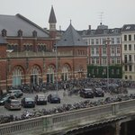 View of Copenhagen's railway station from my room at the Plaza Hotel. Note all the bicycles.