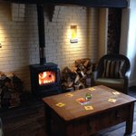 Log fire in the bar!