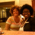 Jamie front desk clerk and I . I did my hair like hers then we disco danced in the lobby.