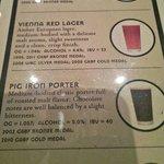 Part of the beer menu