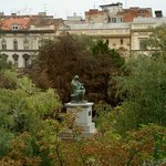 View from our Palace hotel room; statue is of Strossmayer.