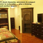 fireplace, HDTV w/Direct TV,refrigerator, microwave in every room