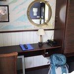 Pleasant desk, decor and ample closet/storage space