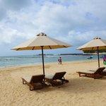 sun lounges and beach
