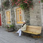 Mom relaxing in old town quebec
