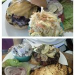 Classic burger with bacon and cole slaw on top. Steak burger woth purple potato salad on bottom.