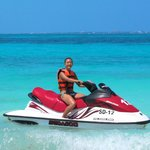 Jet-skiing by the private beach.