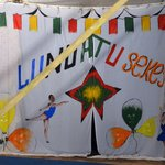 Backdrop painted by staff for the circus performance