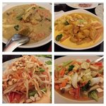 green curry, mamasam curry, mango salad and fried veg