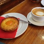 Delicious cappuccino and frangipane tart