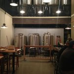 The 5bbl brewhouse, and above that are the 10bbl fermenters