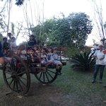 Crianças passeando no carro de boi