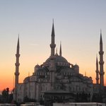 Blue Mosque at sunset from the roof garden