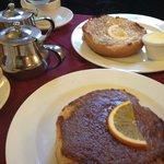 Cinnamon Butter Bun and Ginger Butter Bun with House Blend Tea