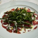 Buffalo carpaccio with buffalo yoghurt, mint, greens, and green beans